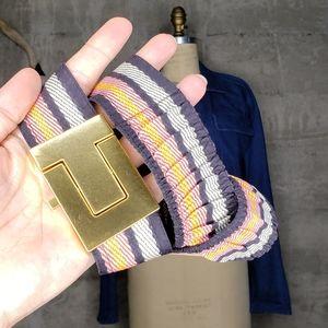 Tory Burch Gold T Stretchy Belt, Sz S